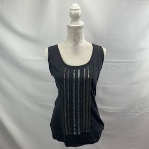 Embellished Charcoal Grey Tank Top Sequins Beads